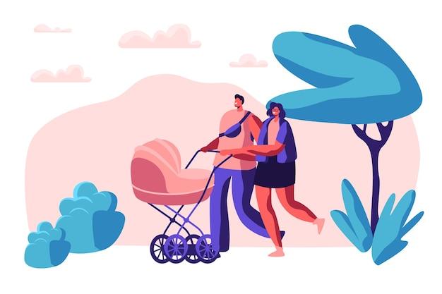 공원에서 유모차와 가족 산책. 행복 한 어머니와 아버지가 함께 걷는 신생아 아이. 부모는 어린이 유모차와 함께 야외에서 여가 시간을 보냅니다. 플랫 만화 벡터 일러스트 레이션