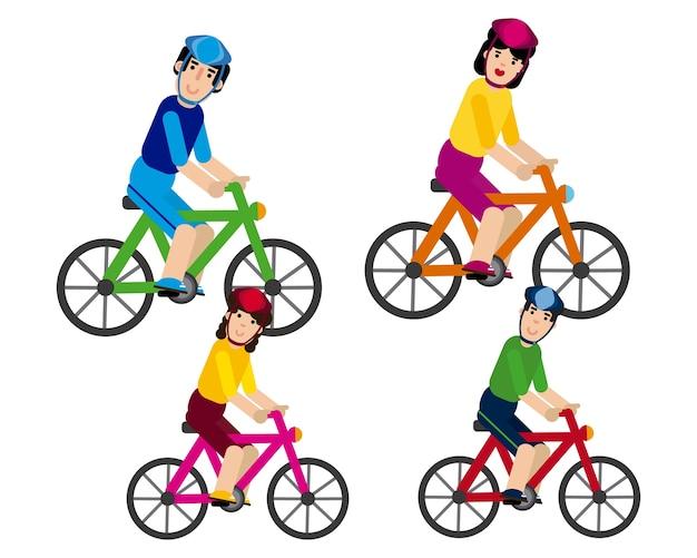 Семья, идущая на велосипеде