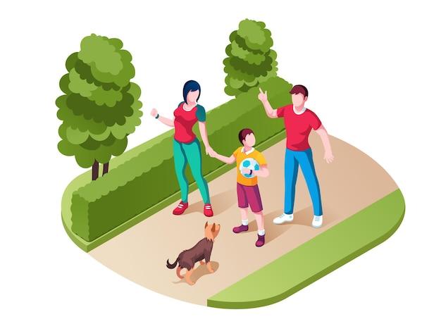 가족 산책 또는 공원에서 산책. 엄마와 아이, 아버지와 아이가 자연에서 시간을 보내는.