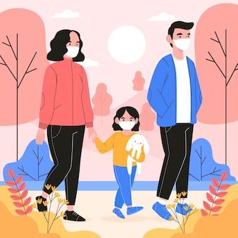 医療マスクを着て歩く家族