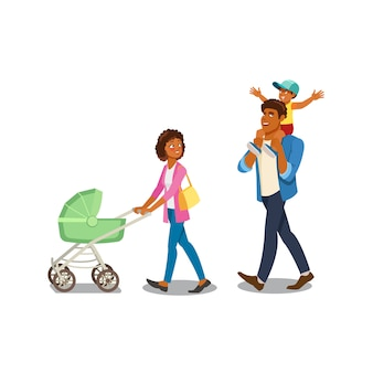 Family walking with childrens cartoon vector