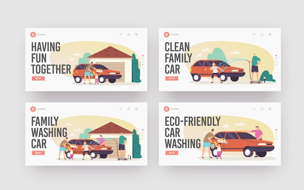 Family wash car landing page template set. happy characters wash auto at back yard. weekend chores, household activity. mother, father and children clean automobile. cartoon people vector illustration