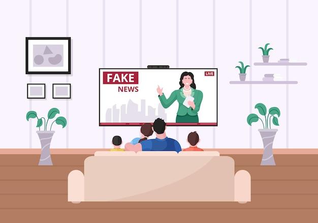 リビングルームのソファに座って偽のニュースを見ている家族。親のカップルと一緒に夜の時間を過ごすソファに座っている子供たちは、毎日のテレビメディアプログラムのベクトル図をお楽しみください