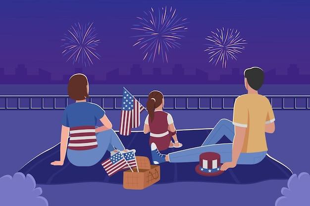 Семья смотрит фейерверк на 4 июля плоские цветные рисунки. празднование дня независимости