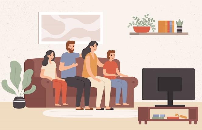 Family watching television together. happy people watch tv in living room, young family watching movie at home  illustration