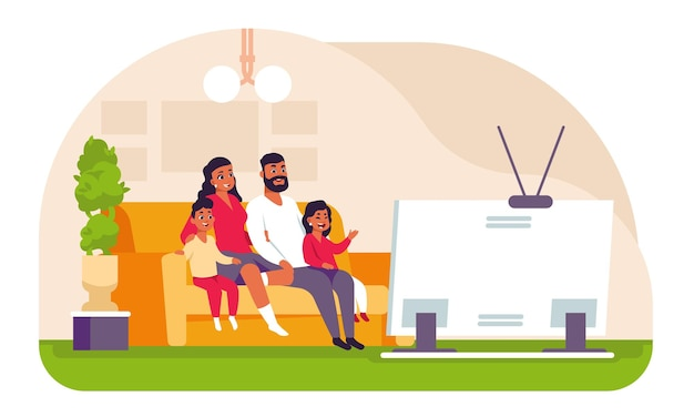 テレビを見ている家族。漫画の父の母と子供たちは家で週末を過ごし、ソファに座って映画や漫画を見ています。ベクトルイラストシーン若い母と父はテレビの前でリラックス