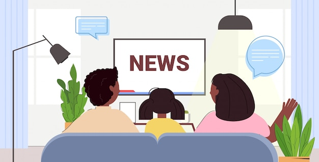 Family watching tv discussing daily news program on television parents with daughter spending time together rear view portrait horizontal illustration