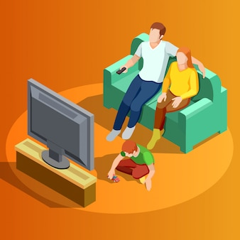 Family watching tv home isometric image