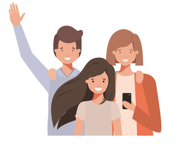 Family waving avatar character