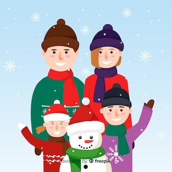 Family waving christmas tree christmas background