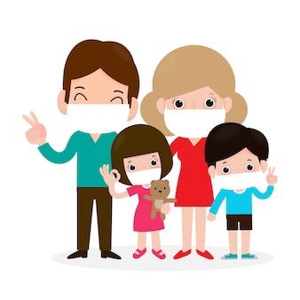 Family wearing mask protection illustration