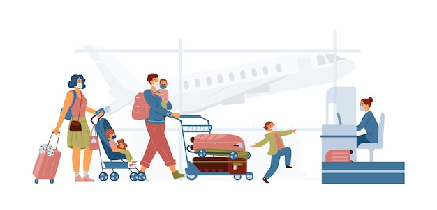 Family wearing protective masks in airport near check in stand. mother with baby stroller, father holding child with cart with lugguage. travel during pandemic concept.