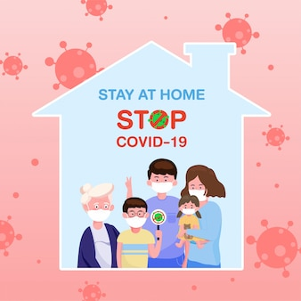 The family wearing protective medical mask in flat style stay at home and stay safe for protect coronavirus. covid-19 outbreaking and pandemic attack concept.