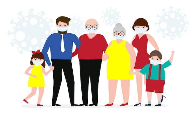 코로나 바이러스 또는 covid-19, 새로운 정상적인 라이프 스타일 개념, 흰색 배경 벡터 일러스트 레이 션에 고립 된 외과 마스크를 쓰고 아빠 엄마 딸 아들을 방지하기 위해 보호 의료 마스크를 착용하는 가족