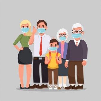 ウイルスを防ぐための保護医療用マスクを身に着けている家族武漢covid-19。
