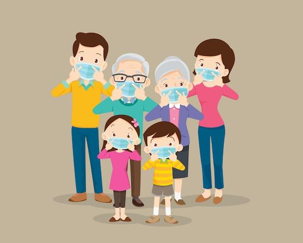바이러스 예방을 위해 보호 의료 마스크를 착용하는 가족