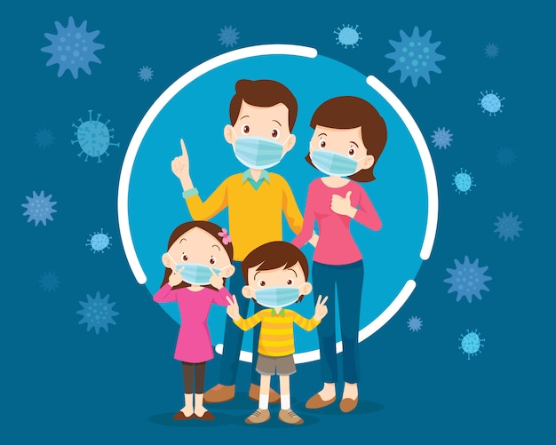 Family wearing protective medical mask for prevent virus.dad mom daughter son wearing a surgical mask.