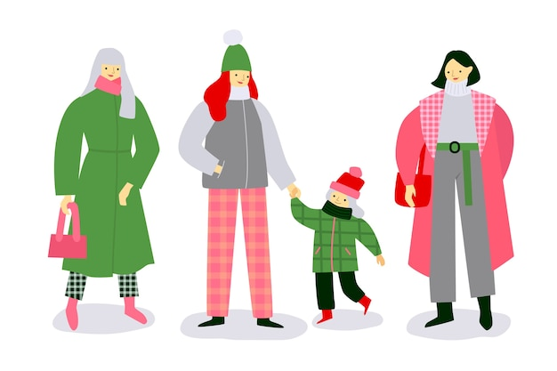 Family wearing winter clothes