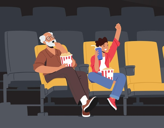 Family weekend entertaining, grandfather and grandson characters watching movie at cinema with pop corn and cola. grandpa with boy enjoying film at movie theatre. cartoon people vector illustration
