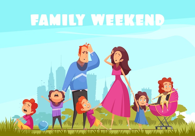 Family weekend in nature with little crying kids and depressed parents flat vector illustration