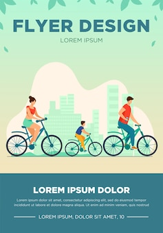 Family weekend outdoors. man, woman, boy riding bikes in park. parent couple cycling with son. vector illustration for summer activity, leisure, recreation concept