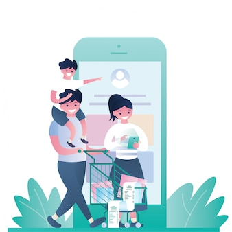 Family who is shoping online