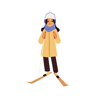 Family winter activities and sports flat cartoon vector illustration isolated
