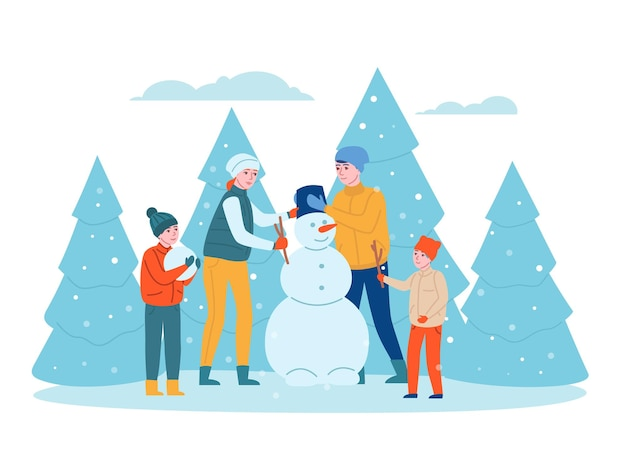 Семейный зимний отдых. счастливые дети и родители лепят снеговика в парке, муж, жена и дети вместе веселятся на свежем воздухе. векторный концепт