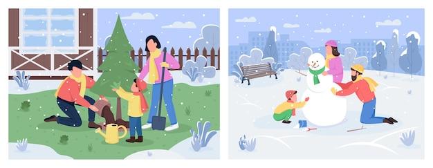 가족 겨울 활동 세미 플랫 세트. 뒤뜰에 나무 심기. 도시 공원에서 눈사람입니다. 상업적 사용 컬렉션을위한 부모와 자녀 2d 만화 캐릭터