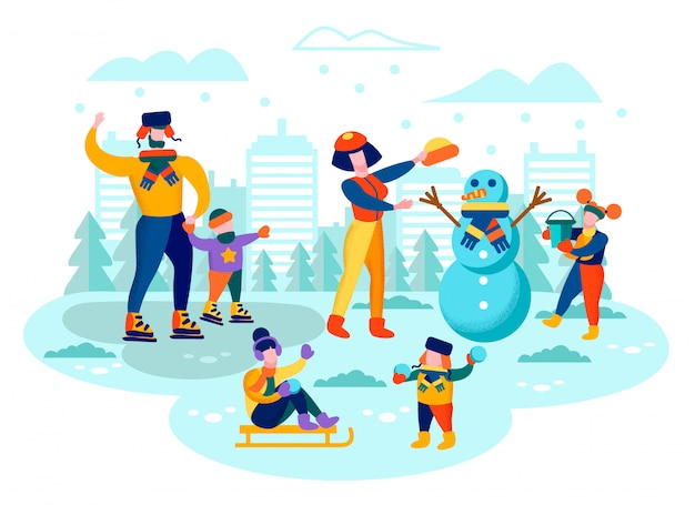 Family winter leisure in city park flat vector