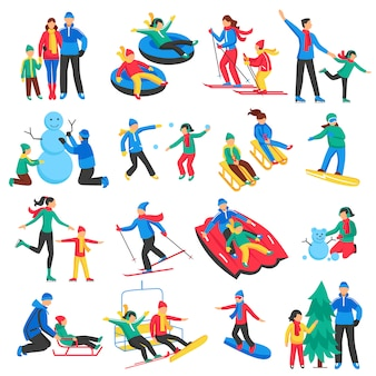 Family winter sports icons set