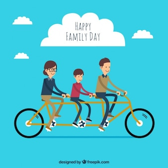 Family with a bike