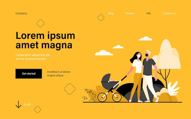 Семья с ребенком в детской коляске в масках, целевая страница в плоском стиле