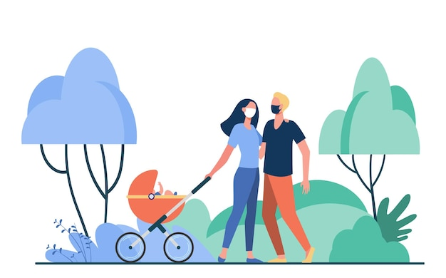 Family with baby in pram wearing masks. kid, buggy, park flat illustration