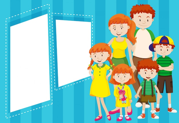 Family with blue frame