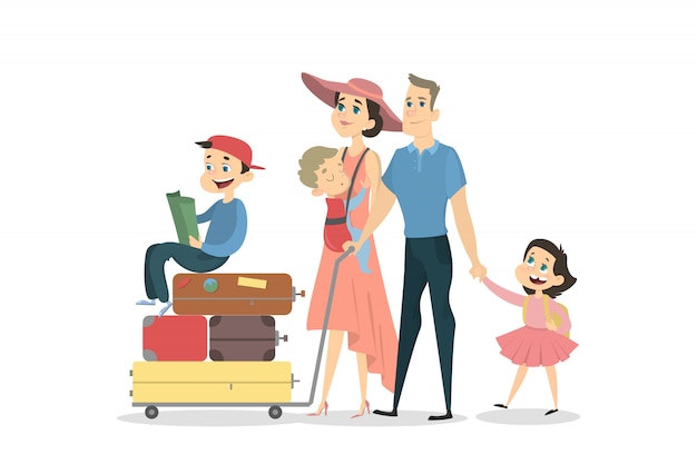 Family with children and luggage on white background.