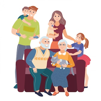 ソファに座って子供連れのご家族。大きな家族の肖像画。ベクトルの人々。母親と父親の赤ちゃん、子供、祖父母はベクトルイラストです。
