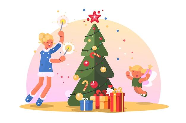 크리스마스 트리와 가족입니다. 행복 한 엄마와 아이가 춤과 근처 재미