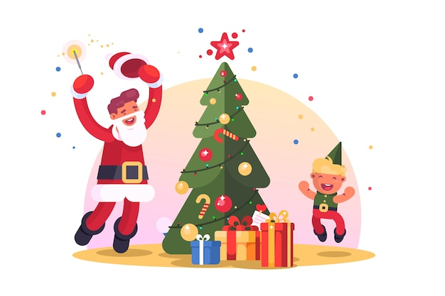 Family with christmas tree . happy santa and child dancing and having fun near