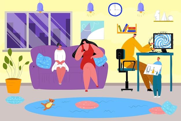 집에서 디지털 중독이 있는 가족, 벡터 삽화. 어머니 아버지 딸 캐릭터는 소셜 미디어와 함께 기술을 사용하고 작은 아들은 그림을 보여줍니다.