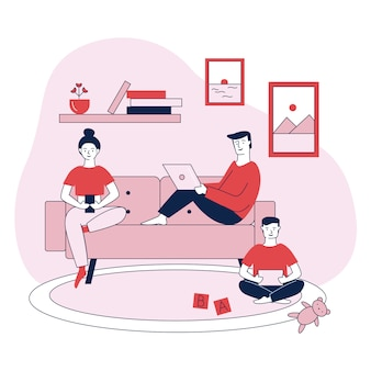 Family with digital devices flat vector illustration
