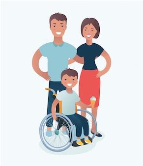 白い背景のスタイルで無効になっている子供の概念を持つ家族。一緒に立っている車椅子の父、母、娘、息子。