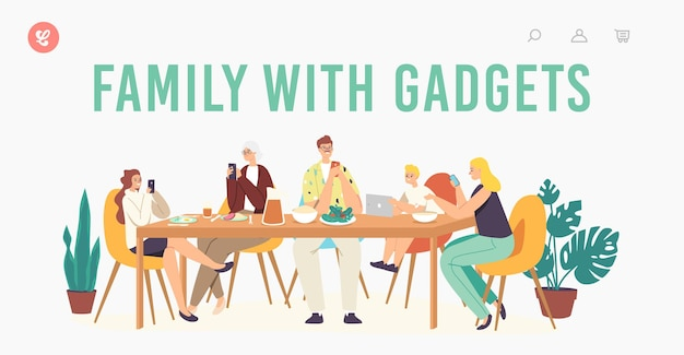Family with gadgets landing page template. characters suffering of social media addiction. parents, granny and children sitting together at home using smartphones. cartoon people vector illustration