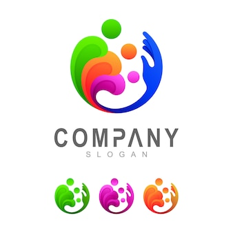 Family with hand logo template