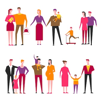 Family with kids cartoon vector parents and children
