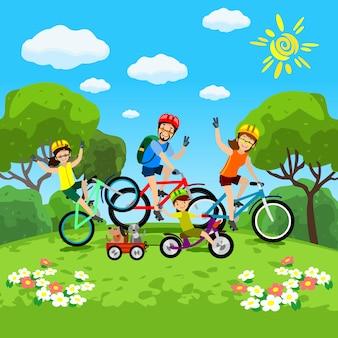 公園でサイクリングの子供たちの概念を持つ家族。
