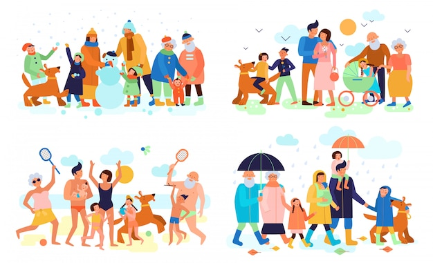 Family with kids parents and grandparents outdoor in summer winter spring autumn flat compositions