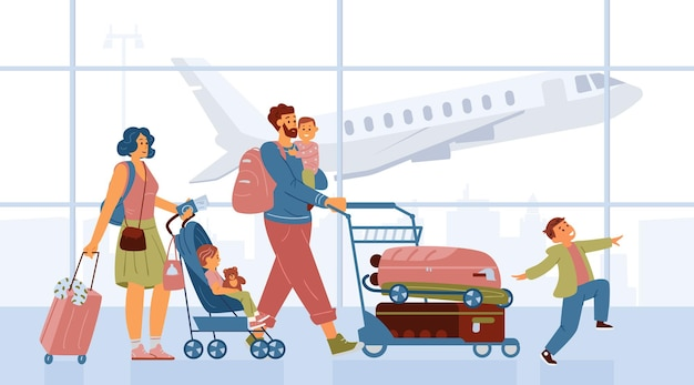Family with kids pushing cart with baggage walking in airport going on vacation mother with baby stroller father holding child on hands happy boy jumping