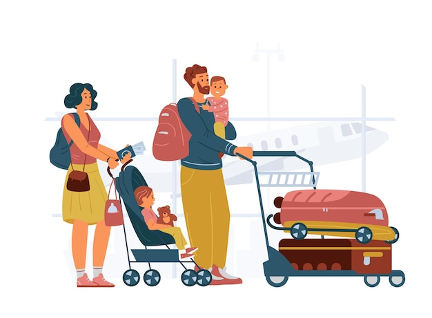 Family with kids standing with cart with baggage in airport mother with baby stroller father holding child on hands