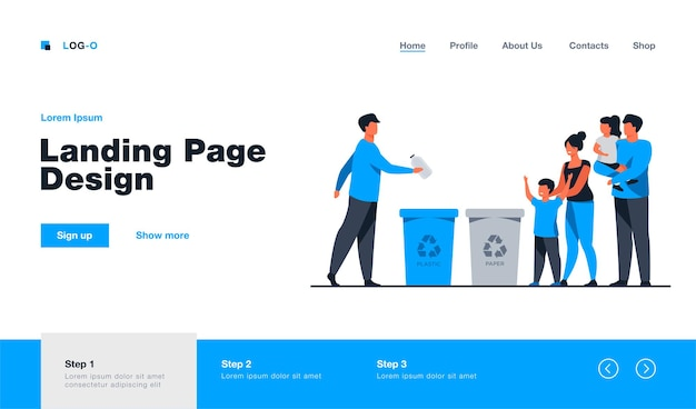 Семья с детьми наблюдает за сортировкой мусора. пластик, экология, мусор плоский рисунок. дизайн веб-сайта или целевая веб-страница с концепцией окружающей среды и переработки
